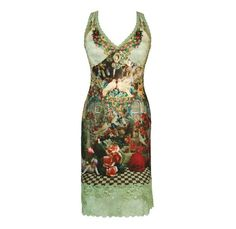 Amazon.com: Vintage Looking Enchanting Sleeveless V-Neck Tunic Dress by Michal Negrin Made of Printed Lycra with Artistic Drawings, Fitted Bustline, Crafted with Swarovski Crystals and Wide Lace Trim at Hem: Clothing