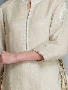 Buy Beige Asymmetrical Embroidered & Tassel Detailed Linen Kurta Women Kurtas Online at Jaypore.com