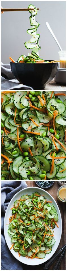 Quick and easy Sesame Ginger Miso Cucumber Salad - perfect for potlucks! http://samscutlerydepot.com/product/2-pack-emeril-stainless-steel-black-kitchen-scissors-shears-3-blades-with-emeril-suction-mount-sharpener-red/