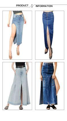 Gvance Women's Casual Maxi Denim Long Skirt