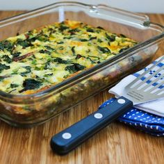 Recipe for Swiss Chard, Mozzarella, and Feta Egg Bake [from Kalyn's Kitchen] #GlutenFree  #SouthBeachDiet
