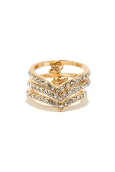 V My Guest Gold Rhinestone Ring