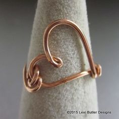 Looking so simple yet so incredibly gorgeous is the 18 gauge solid copper artisan made original design in heart-shaped ring. Wear it on any finger. We make this ring for you to custom in sizes from 4-