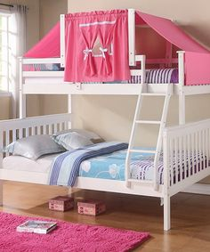 Get the most out of your space with our classic twin over full girls bunk beds with a fixed ladder and fun pink tent on top. This bunk bed feature solid pinewood construction in an attractive white fi Girls Bunk Beds, White Bunk Beds, Full Bunk Beds, Kid Beds, Bunk Bed Tent, Bunk Beds With Stairs, Girl Room, Girls Bedroom, Child's Room