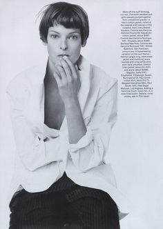 """Linda Evangelista sporting """" Suits without the Starch, """" shot by Steven Meisel for US VOGUE May 1993   Fashion Editor Camilla Nickerson   Hair Ward   Make-up Denise Markey."""