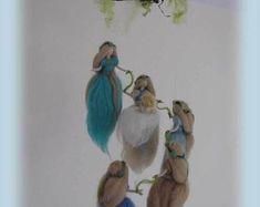 Needle felted ornament Waldorf fairy ornament Home decoration Fairy gift Fairy doll Fairy decor Needle Felted Ornaments, Felt Ornaments, Mobiles, Fairy Gifts, Felt Mobile, Felt Fairy, Felt Brooch, Flower Fairies, Orange And Purple