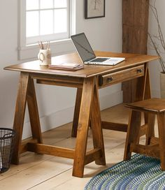 Rustic Wooden Desk With Sawhorse Legs