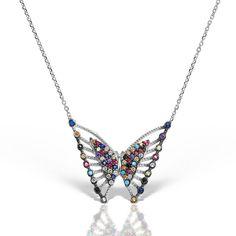Colier argint cu pietre 44 cm colorate Fluture - MCN0032 Minerals And Gemstones, Diamond, Jewelry, Jewlery, Jewerly, Schmuck, Diamonds, Jewels, Jewelery