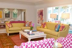 Johnson Vann Interiors | living room, yellow couch, ikat chairs, pink ikat chairs.
