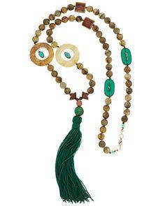 Danielle Stevens 10K Plated Wood Gemstone & Crystal 28in Necklace