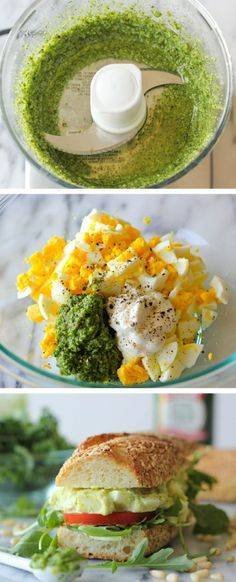 The addition of kale pesto in this egg salad is a wonderful, healthy twist to the traditional version!