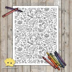 Doodles Printable Coloring Page Doodle Coloring, Coloring Sheets, Coloring Books, Outline Drawings, Doodle Drawings, Printable Coloring Pages, Coloring Pages For Kids, Star Doodle, Pencil And Paper