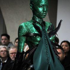 Fyodor Podgorny and Golan Frydman won the Fashion Fringe prize at London's Fashion week - no wonder with this amazing green glitter creation!!