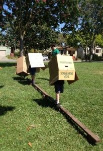 An obstacle course wearing a box - yeah!