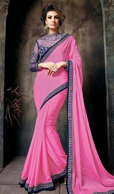 Look unique in the crowds dressed up in this saree in pink color shade chiffon. Beautified with lace, resham and stones work. #uniquestylesaree #pinkcolorsari #fancysaris