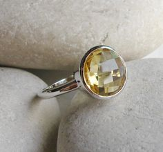 Bezel Citrine Ring- Gemstone Ring- Birthstone Ring- Promise Ring- Yellow Topaz Ring- Stack Ring- Yellow Ring- November Birthday Gifts on Etsy, $68.99