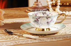 Floral Tea Cup & Spoon & Saucer Set