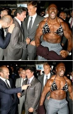 Jason Statham, Sylvester Stallone, Terry Crews, and Dolph Lundgren Funny As Hell, Funny Cute, The Funny, Hilarious, Dolph Lundgren, Terry Crews, Don Juan, The Expendables, Jason Statham