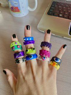 Fimo Ring, Polymer Clay Ring, Funky Jewelry, Cute Jewelry, Biscuit, Diy Clay Rings, How To Make Rings, Chunky Rings, Pretty Rings