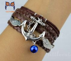 Anchor and wings jewelry bracelet wax brown by littlecuteowl, $4.99
