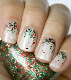 Nude + Red Glitter + Green Glitter Mani #Nails #NailArt #Manis #Christmas