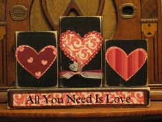 Valentines Day Decor - Valentine Blocks - All You Need Is Love Valentine's and Wedding Sign. $28.00, via Etsy.