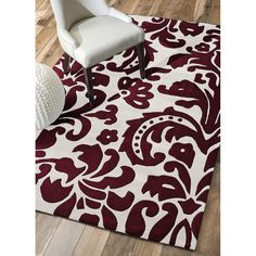 Nuloom x Hand Tufted Pat Area Rug in Red Damask Rug, Wall Carpet, Rugs Usa, Contemporary Area Rugs, Red Rugs, White Area Rug, Throw Rugs, Apartment Living, Rug Size
