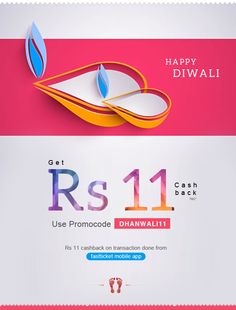 May you be blessed with #happiness and well being to last through the year. Happy #Diwali!  Rs 11 cash back on transaction done from Fastticket Mobile App.  For More Information please visit to : http://fastticket.in/other/free-offer?offer=diwali11offer