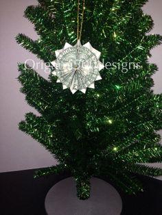 Money Origami ROSETTE Christmas Tree Ornament