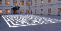A beautiful maze of lights of them) at Loucen castle in Czech Republik Maze Design, Czech Republic, Wander, Beautiful Places, Castle, Corner, Lost, Spaces, Lights