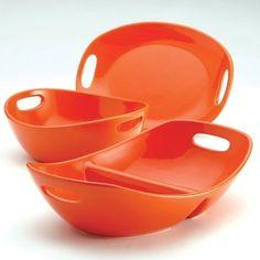 Rachel Ray Serving Bowl Set Orange Stoneware Party Dinnerware Large Food Server #RachelRay