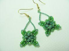 Beadwork Earrings Irish Green 4 Leaf Clover by BohemianIce