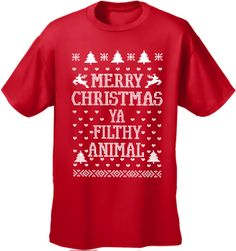 59fa8cc00 Merry Christmas Ya Filthy Animal Girls T-Shirt, from the Movie Home Alone 2  (Womens Full Cut Large, Red) BeWild