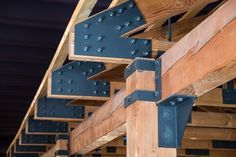 Timber frames by expert timber frame builders. College cafeteria frame with hemlock and douglas fir timber, steel bolts & plates, and traditional joinery Veranda Pergola, Shed Design, House Design, Garage Door Framing, Timber Structure, Roof Trusses, Wood Joinery, Building A Shed, Building Plans