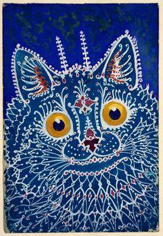 antique art deco illustration portrait of a blue cat DIGITAL Art Deco Illustration, Cat Illustrations, Louis Wain Cats, Nanu Nana, Psychadelic Art, Son Chat, Cat Sketch, English Artists, Blue Cats