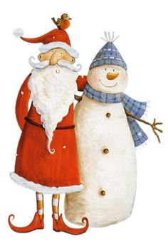 free pattern for Santa and snowman Christmas. This is the picture that cross stitch chart was made f Snowman Clipart, Christmas Clipart, Christmas Cross, Christmas Printables, Christmas Snowman, Christmas Themes, All Things Christmas, Christmas Decorations, Christmas Ornaments