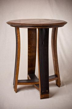 This Barrel Top Accent Table makes a nice rustic addition to any room in your home or outdoor patio. It is handcrafted from a real whiskey barrel! Wine Barrel Crafts, Wine Barrel Table, Wine Barrels, Bourbon Barrel Table, Barrel Chair, Easy Woodworking Projects, Popular Woodworking, Woodworking Tools, Woodworking Furniture