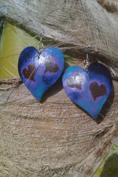 Double Hearts Coconut Shell Earrings-Fashion Earrings-Purple Blue Earrings-Natural Earrings-Unique Gift For Her-Large Drop Earrings by FingerMagic on Etsy https://www.etsy.com/listing/271416097/double-hearts-coconut-shell-earrings