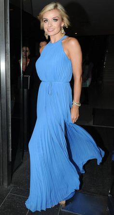 Katherine Jenkins Snapped In a Stunning Blue floor-length halterneck gown..