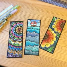 Zentangled Bookmarks - hand-drawn on watercolor paper with Pitt pens then colored with Copic markers