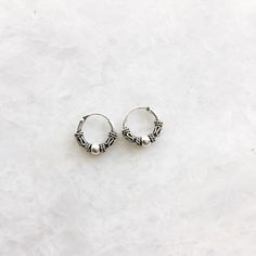 Sterling Silver 10 mm Ball Stud Bali Sleeper Hoop Earrings ro7Eix