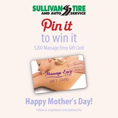 Happy #MothersDay Weekend! Enter to Win a FREE $200 Massage Envy Gift Card!   Here's how you enter: - Follow Sullivan Tire on Pinterest - Re-Pin the Contest Pin - Visit our Pinterest page on May 13, 2014 to see if you've won!