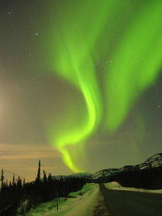 Neon green bands of northern lights light up the sky over White Horse, Yukon territory, Canada. by Gmomma Aurora Borealis, Night Photography, Exposure Photography, Nature Photography, Dark Skies, The Great Outdoors, Places To See, Northern Lights, Beautiful Places