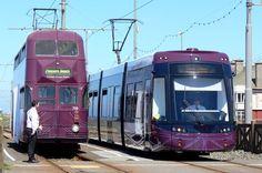 Blackpool Ballonatic Weekend - A & B Fleet trams meet at Cabin, where Balloon 719 waits for Flexity 016 to pass before reversing