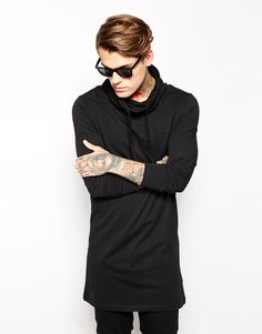 Enlarge ASOS Long Sleeve T-Shirt In Super Longline With Cowl Neck