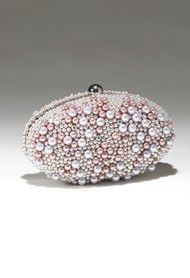Multi Pearl Beaded Rhinestone Handbag