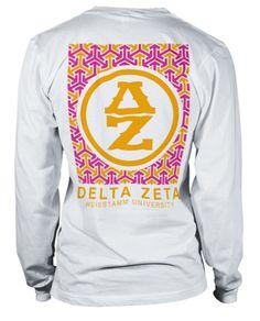 Delta Zeta Long Sleeve T-shirt. Great for Recruitment or Bid Day!