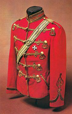 Imperial Russian officer's 'Attila', His Majesty's Life Guard Hussar Regiment, circa1881-94. Mollo Collection.