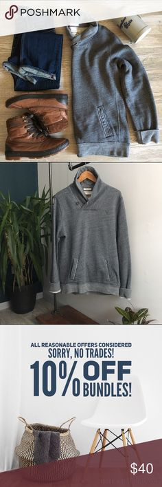 •Abercrombie & Fitch• Men's Grey Pullover A perfect piece for any man's closet. Great as a layering piece over tees or button downs. The shawl collar has a very European feel to it, and is both functional and stylish. Worn minimally and is in excellent condition. Size Large, would fit a medium as well. *All other items (except my beer stein from Oktoberfest!) in this picture are also for sale in my closet! Abercrombie & Fitch Shirts Sweatshirts & Hoodies