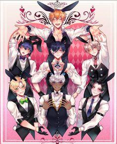 """Obey me bunny boys💕 Otaku, Izu, Boys Anime, Anime Sensual, Bunny Suit, Fanart, Handsome Anime Guys, Shall We Date, Art Reference Poses"